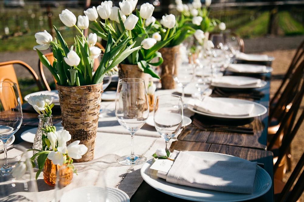 White Tulip tablescape napa vineyard