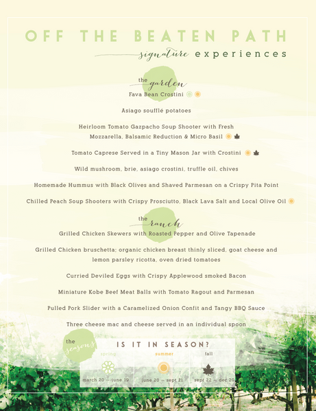 Culinary Client Menu Options (Page 1)