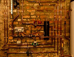 Air source heat pump installation. Copper piping to main components..jpg