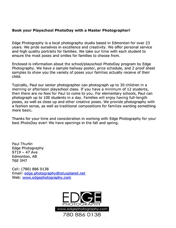 Edge Photography Edmonton  Playschool  School Photography