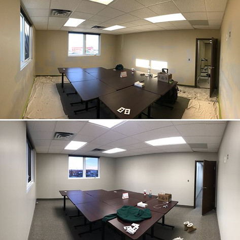 A boardroom and connecting office space