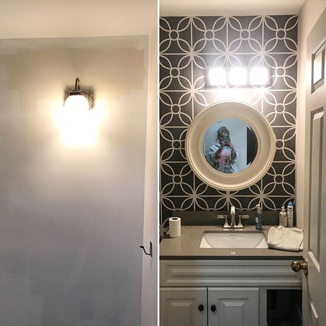 Before and after in this powder room - t