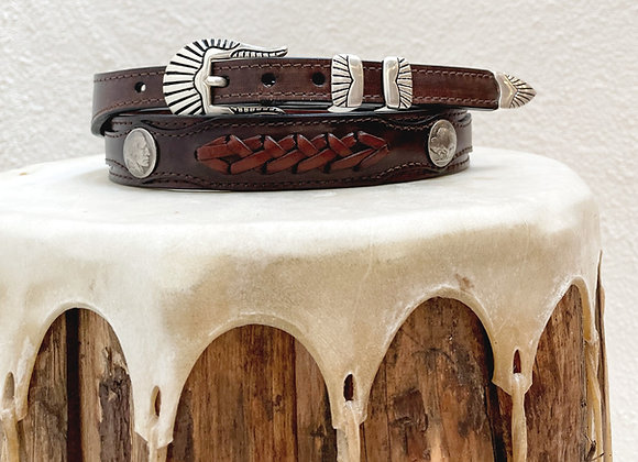 Braided Tapered Belt with Genuine Buffalo & Indian Nickels