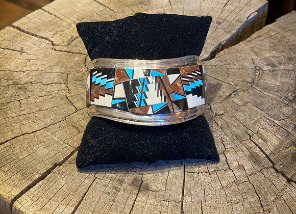 Zuni Sterling Silver Inlay Cuff