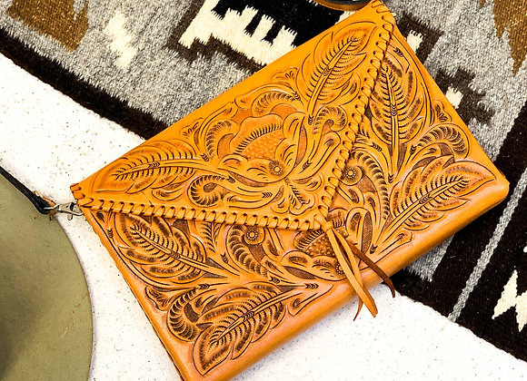 Envelope Purse Hand Carved Leather