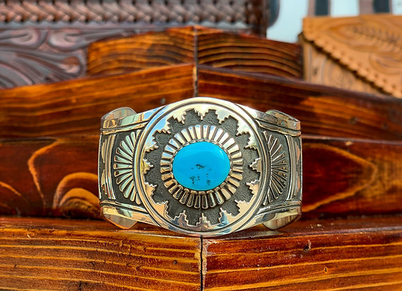 Navajo Sterling Cuff with Turquoise