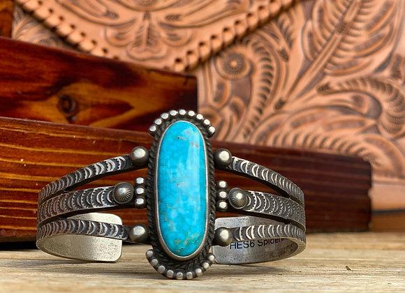 Kingman Turquoise & Silver Cuff