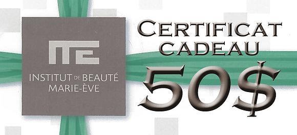 CERTIFICAT CADEAU - 50$