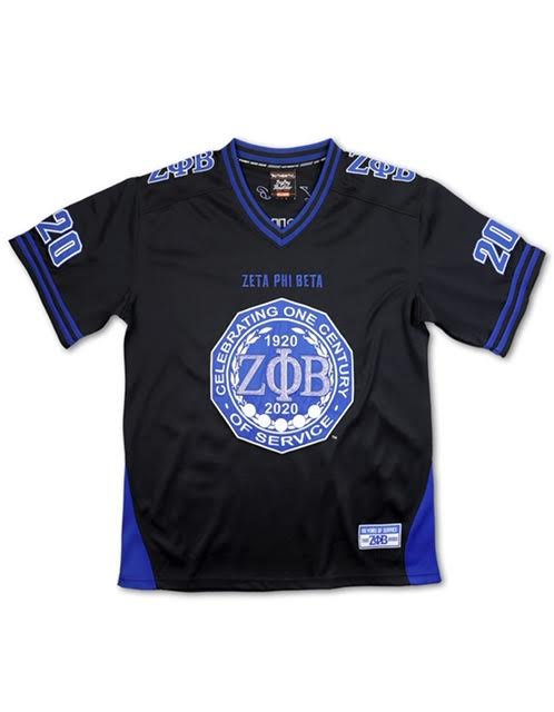 Zeta Phi Beta Black Centennial  Bling Football Jersey