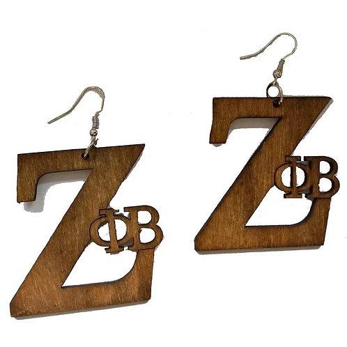 Zeta Phi Beta Wood Earrings