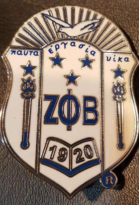 """Zeta Phi Beta 2"""" White Shield Pin"""