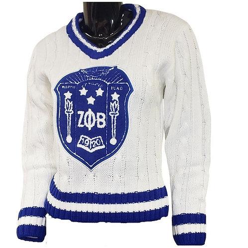 Zeta Phi Beta V Neck Cream Sweater