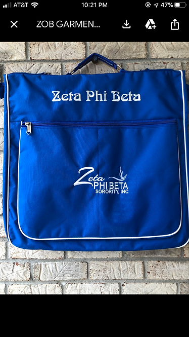 Zeta Phi Beta Garment Bag