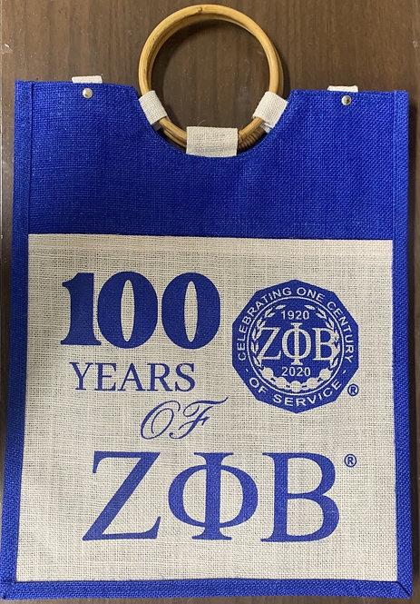 Centennial Large Pocket Jute Bag Zeta Phi Beta
