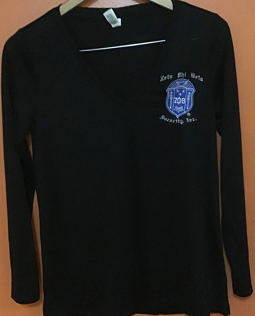 Zeta Phi Beta Long Sleeve V neck