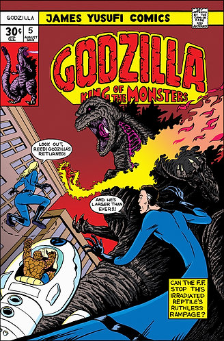 "Godzilla vs Fantastic Four - 11x17"" Print"