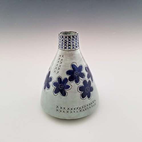 indigo blossoms flask vase