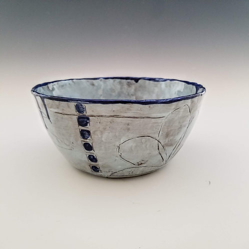 blue + indigo blossom serving bowl