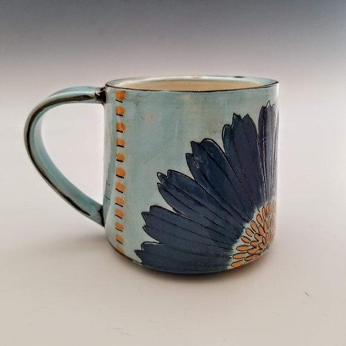 blue cosmos flower mug