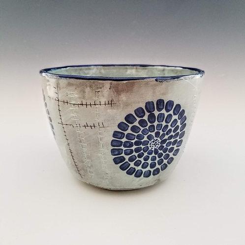 indigo chrysanthemum serving bowl