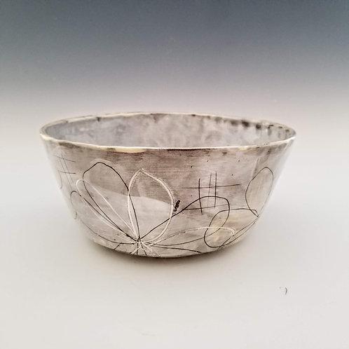 white blossom serving bowl