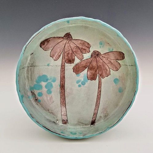 echinacea flower serving bowl