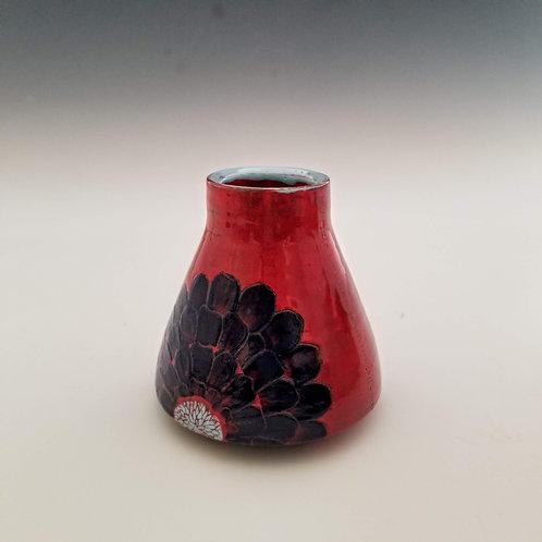 blue zinnia flask bud vase