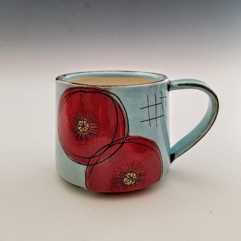 double poppy flower mug
