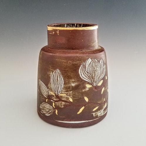 golden magnolia branch flower vase
