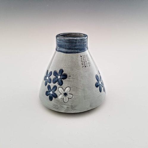blue blossoms flask vase