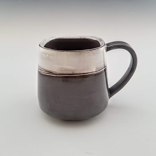 grey and white mug