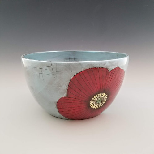 large  poppy serving bowl