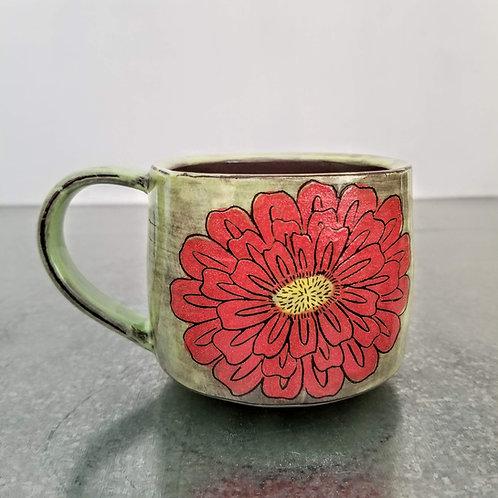 double zinnia flower mug
