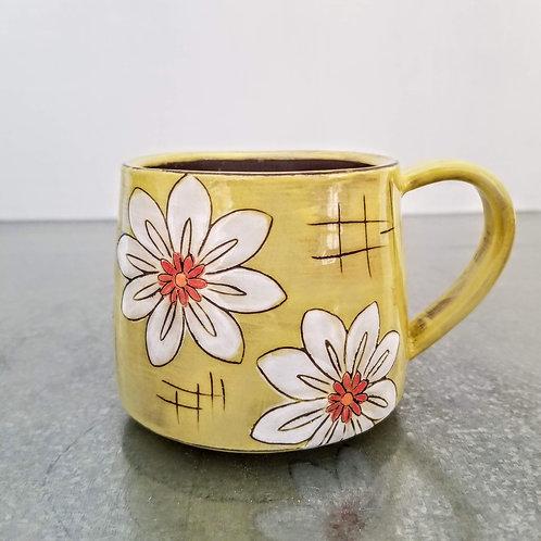white blossom flower mug