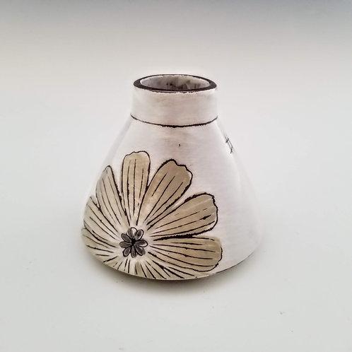 white and cream cosmos flask bud vase