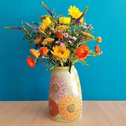 extra-large multi- colored zinnia vase
