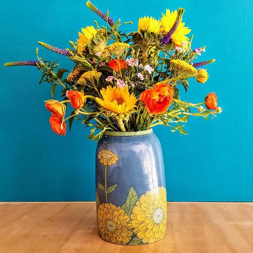 extra-large blue sky + golden zinnia vase