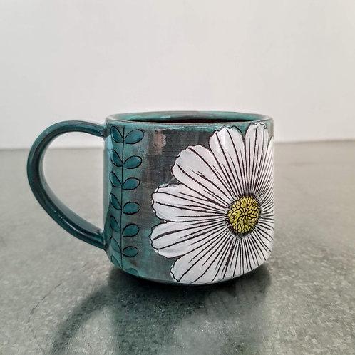 cosmos and leaf flower mug