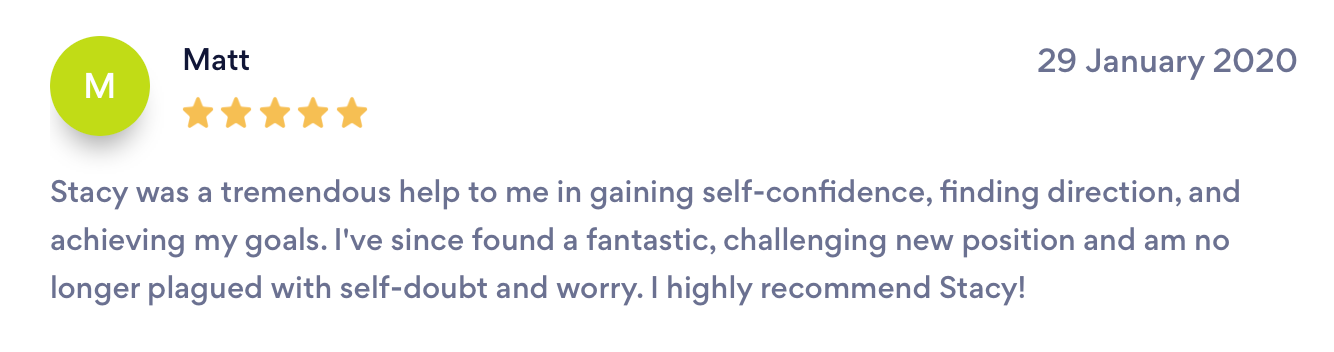 Client Testimonial on bark.com- Stacy Laine Life Coach Owner of Evolve And Rise Up