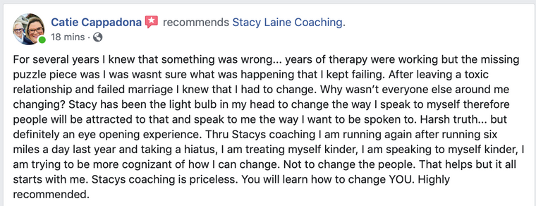 Client Testimonial - Stacy Laine Life Coach Owner of Evolve And Rise Up helping clients with self confidence, self esteem, and doing more in their life