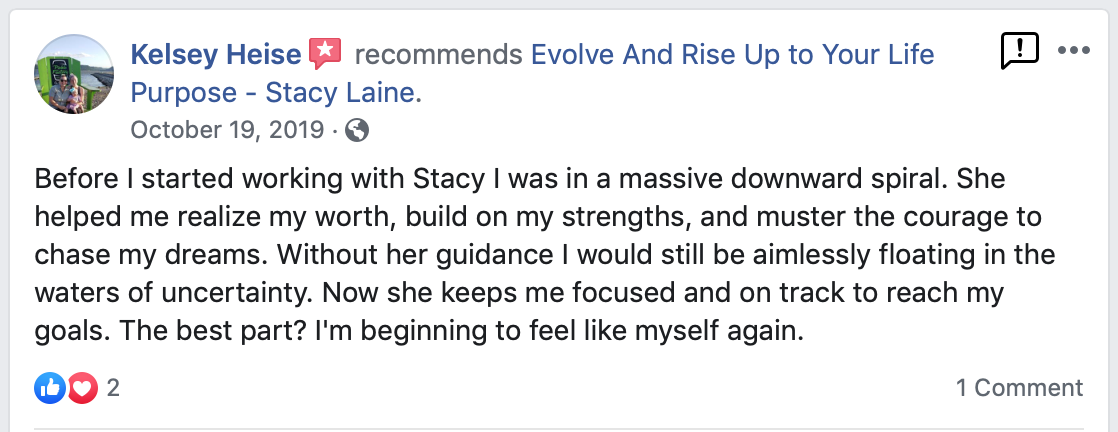 Client Testimonial - Stacy Laine Life Coach Owner of Evolve And Rise Up