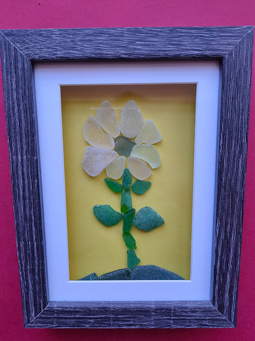 Sea Glass Picture (flower) framed