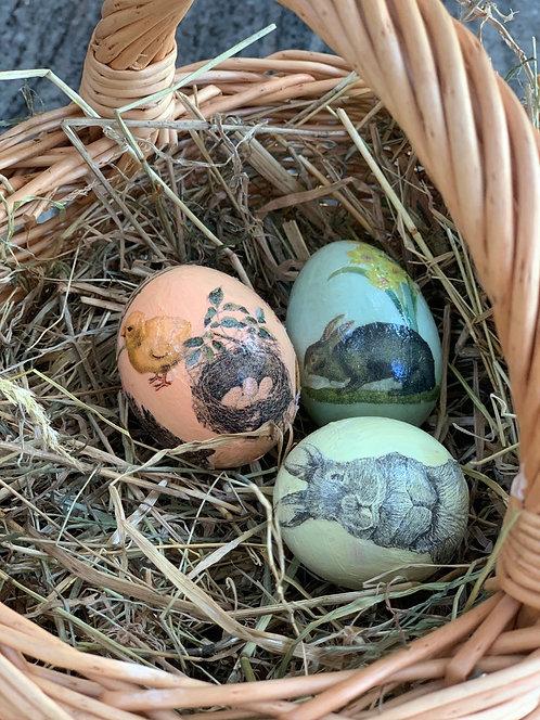 Set of 3 Paper Mâché  Easter Eggs