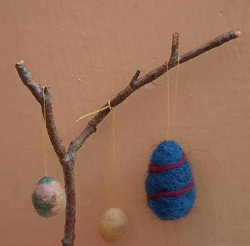 Felted Easter Eggs on a Stick