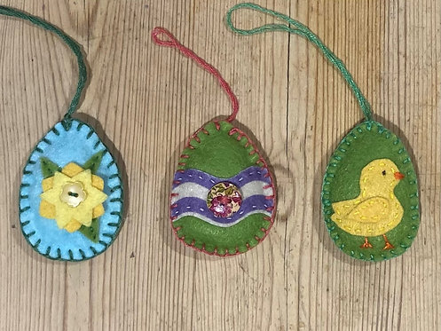 Felt Egg Decorations (decorated eggs)