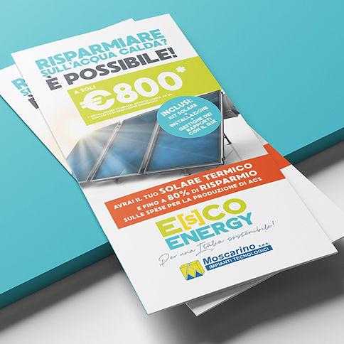 Progetto grafico e realizzazionedepliant promozionale - Escoenergy di Moscarino S.as.