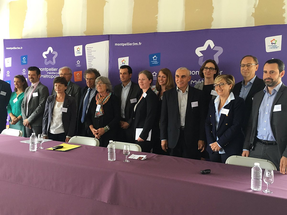 Photo de famille des entreprises #innovantes et #startups du Biopole Euromedecine avec @chantal_marion #Montpellier