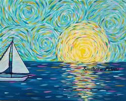 Sunset Sail Van Gogh Style