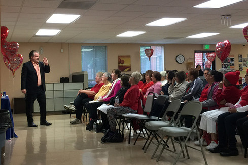 Dr. Paul Mercer leads a Valentine's Day presentation on heart health at Whittier Hospital.