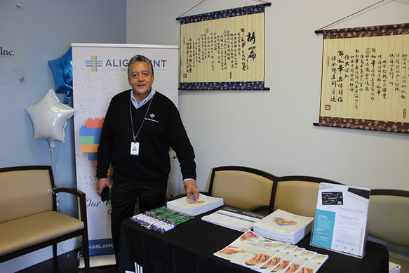 Luis Byron Quintero spoke to seniors about the services available to them through Alignment Health Plan.